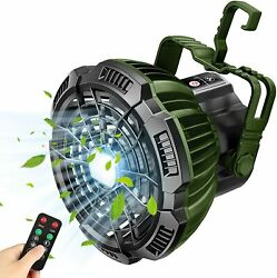 Portable Camping Lantern Tent LED Light w Ceiling Fan Rechargeable Outdoor Lamp $22.95