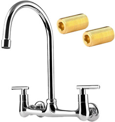 Commercial Wall Mount Kitchen Faucet 8 Inch Center 2 Handles Commercial Kitchen