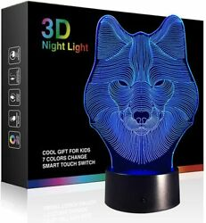 Wolf Lamps 3d Illusion Night Light LED Table Desk Lamps 7 Colors USB Charge $25.60