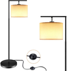 Floor Lamp for Living Room LED Floor Lamps with Linen Lamp Shade Modern Lamps $47.07