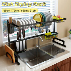 Large Kitchen Dish Drying Rack Over Sink Stainless Steel Cutlery Drainer $41.48