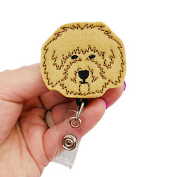Golden Doodle Badge Reel Dog Retractable ID Holder Puppy Name Tag Clip Gift $10.95