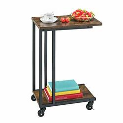 Mr IRONSTONE C End Table for Living Room Modern Bedroom Nightstand with Caste... $53.98