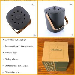 Bamboozle Food Composter Indoor Food Compost Bin for Kitchen Graphite NEW $45.00