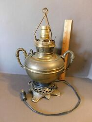 ANTIQUE BRADLEY AND HUBBARD BRASS ELECTRIFIED OIL LAMP W FITTER FREE SHIPPING $79.97