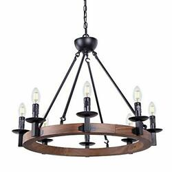 Wellmet 8 Lights Farmhouse Iron Chandeliers for Dining Rooms 28 Inch Wagon Whee $308.45