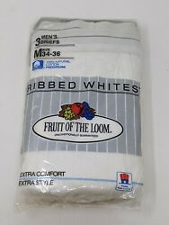 NEW 3 Pair Vintage Fruit of the Loom Size 34 36 Ribbed Underwear Briefs 1989 USA $89.99
