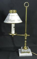 Brass Desk Lamp w Tole Shade and Double Marble Base $22.50