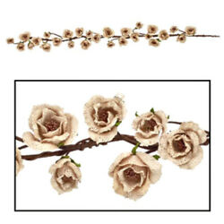 New Rustic Country Cottage Shabby Chic CREAM BURLAP ROSE GARLAND Vine Swag $15.99