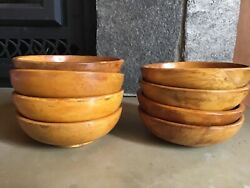 """Set of 8 Mid Century 6"""" Wood Bowls Made in Japan $14.99"""