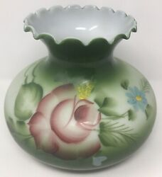"""PAIR Vintage Painted Floral HURRICANE Green MILK GLASS Lamp Shades 6 7 8"""" Fitter $75.00"""