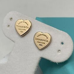 Return To Tiffany Heart Tag Earrings In Rose Gold Mini With Box $699.99