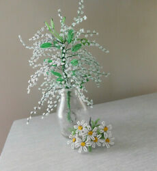 2 VINTAGE Glass BEADED FLOWER Bouquets Daisies amp; White w Leaves $36.80