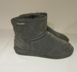 BEARPAW Women#x27;s Gray Suede Leather Winter Short Boots Size 8M $24.99