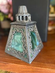 Antique Stained Glass Slag Lamp Shade 4 Pane Art Nouveau Arts Crafts Victorian $225.00