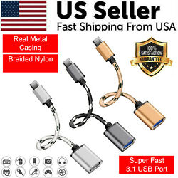 Type C USB C 3.1 Male To USB 3.0 Type A Female OTG Converter Adapter Cord Cable $2.19
