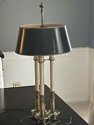 Vintage Stiffel Brass French Bouillotte Candlestick 3 Way Table Lamp Black Shade $175.00