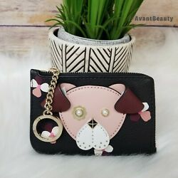 New Kate Spade Floral Pup Dog Leather Card Holder L Zip Wallet Key Fob NWT $59.99