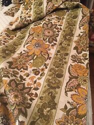 Vintage Waverly Fabric quot;Old Saybrookequot; Floral Stripe Linen Cotton 12Yds Unused $35.00