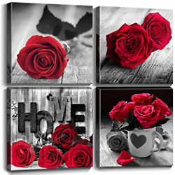 Bedroom Wall Decor for Couples Kitchen Wall Art Red Rose Canvas Prints Pictures $28.74