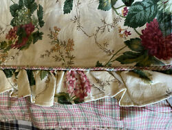 5 WAVERLY GARDEN ROOM ROSEBERRY TAILORED VALANCES PLAID FLORAL RUFFLE 72X17 $45.00