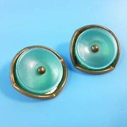 2 Brass With Vintage Green Plastic Center 3 4quot; Shank Style Buttons $9.00