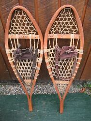 GREAT VINTAGE Snowshoes 36quot; Long x 11quot; Great For DECORATION with Leather Binding $49.75