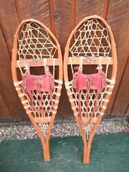 VINTAGE GREAT SNOWSHOES 36quot; Long x 11quot; TORPEDO Leather Bindings READY TO USE $59.23