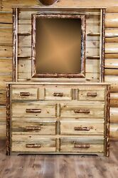 Log Dresser with Hutch Mirror Amish Made Dressers Rustic Log Cabin Furniture