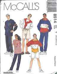 8514 UNCUT McCalls SEWING Pattern Misses Mens Pullover Top Pull on Pants Shorts