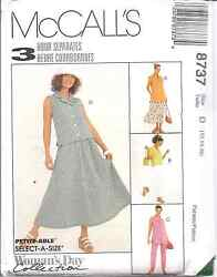8737 UNCUT McCalls SEWING Pattern Misses Top Pull on Pants Skirt OOP SEW Vintage
