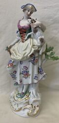 Meissen 19C German Girl Figurine With A Lamb 12