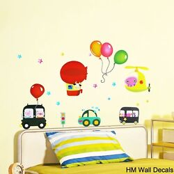 BALLOONS CARS amp; HELICOPTER Kids Removable Wall Sticker for Kids room or Nursery AU $12.95