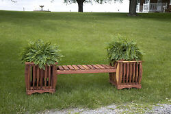 Amish Cedar Planter Bench Patio Outdoor Wood Wooden Garden Furniture New