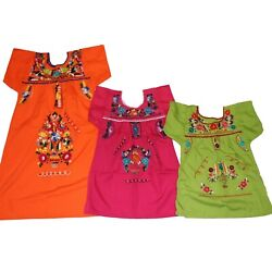 Girls Assorted Colors Peasant Embroidered Mexican Dress Sizes 1 12 years $17.99