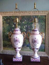 PORCELAIN FRENCH VINTAGE LAMPS FRANCE HAND PAINTED URN $375.00