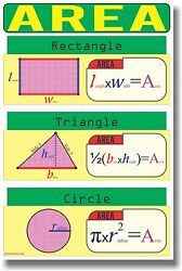 NEW MATH Educational Geometry Classroom POSTER Area $9.99