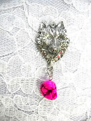 NEW ENGRAVED SHE WOLF HEAD w BRIGHT PINK TURQUOISE PENDANT NECKLACE WOLVES TOTEM