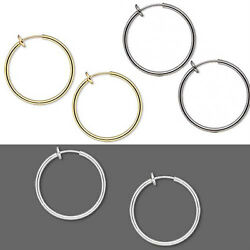 Pair of 1 inch Clip on Hoop Earrings With Spring Closure for a Pierced Look