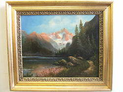 quot;Mountain Landscapequot; old oil on canvasantique painting by Carl Saabye Danish $900.00