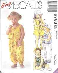 6968 UNCUT Vintage McCalls SEWING Pattern Toddler Girl Top Pants Shorts Bloomers