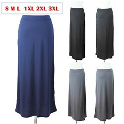 Solid Maxi Skirt Long Full Length Elastic Waistband Casual Stretch S M L PLUS $9.00
