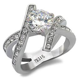 Stainless Steel Round CZ Cross X Dual Band Silver Promise Engagement Ring
