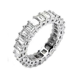 4.65 H VS1 EMERALD CUT DIAMOND ETERNITY ENGAGEMENT BAND