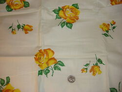 Vintage Cotton Fabric SHADES OF YELLOW ROSES ON WHITE 1 1 2 Yd 35quot; Wide $18.00