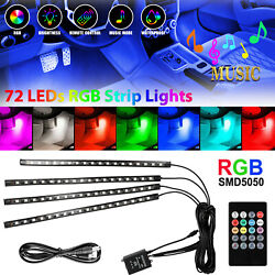 4PCS 72 LED Car Interior USB Atmosphere Lights Strip Wireless IR Remote Control