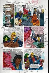 1991 Avengers 329 page 20 Marvel color guide comic art: Captain AmericaShe-Hulk