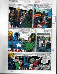 1991 Marvel Comics Avengers 329 color guide art page 18:Captain AmericaShe-Hulk