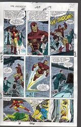 Original 1990 Marvel Avengers 325 color guide art page 25:She-HulkThorIron Man