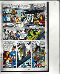 Original Avengers Marvel color guide art: ThorShe-HulkIron ManCaptain America